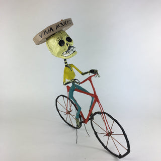 Mexican Paper Mache Skeleton on a Bike, Posada Inspired - Zinnia Folk Arts