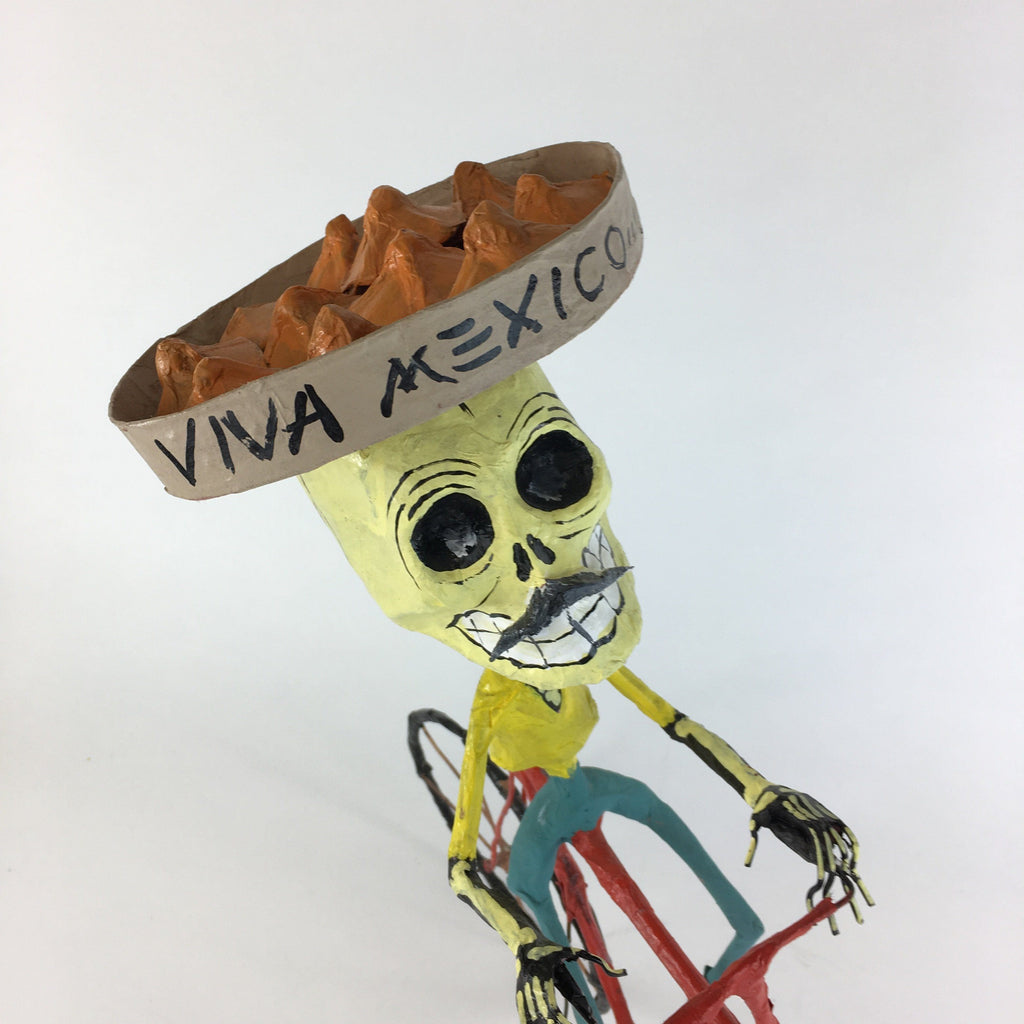 Mexican Papier-Mâché Skeleton on a Bike, Posada Inspired - Zinnia Folk Arts
