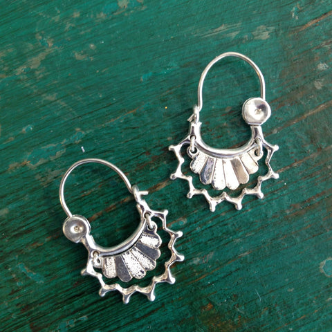 Small Sterling Silver Swinging Arracadas - Zinnia Folk Arts