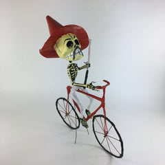 Mexican Paper Mache Skeleton on a Bike, Pancho Villa & Posada Inspired
