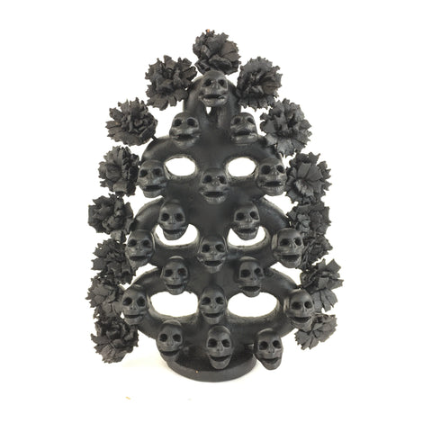 Michoacán Black Ceramic Tree of Skulls, Capula - Zinnia Folk Arts