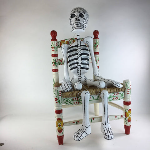 Paper Mache Day of the Dead Skeletons with Glitter,  Extra Large - Zinnia Folk Arts