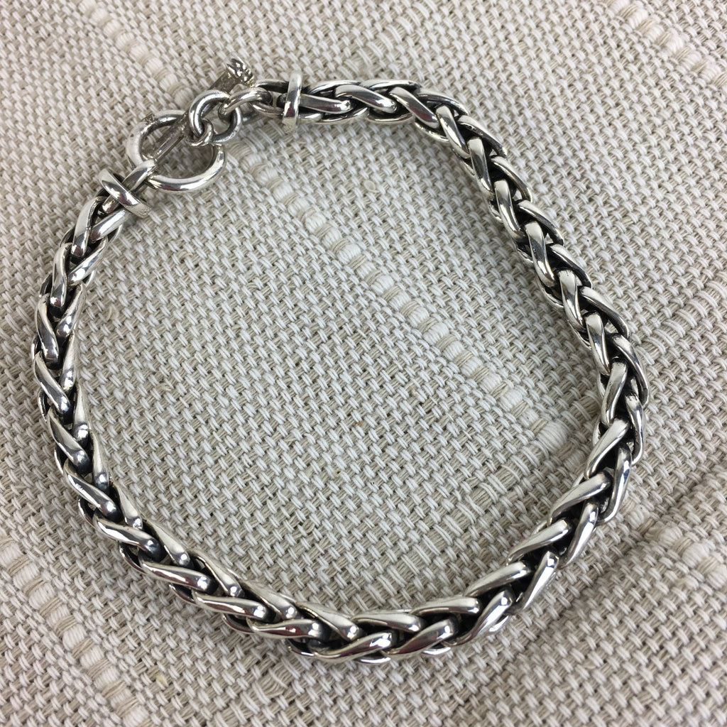 Mexican Sterling Silver Chain Bracelet with Toggle Closure - Zinnia Folk Arts