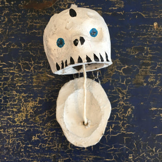 "Rustic ""Talking"" White Clay Day of the Dead Skulls with Glitter Eyes - Zinnia Folk Arts"