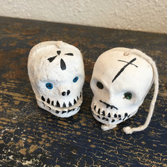 "Rustic ""Talking"" White Clay Day of the Skulls with Glitter Eyes"