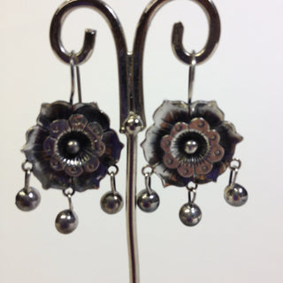 """Girasol"" Sterling Sunflower with Silver Cup Dangles - Zinnia Folk Arts"