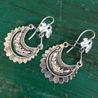 Large Tlaxcala Arracadas Sterling Silver Earrings - Zinnia Folk Arts