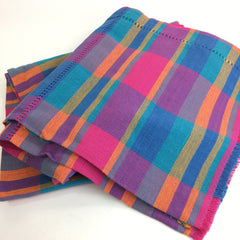 Handwoven Colorful Round Mexican Plaid Cotton Tablecloth, 6'