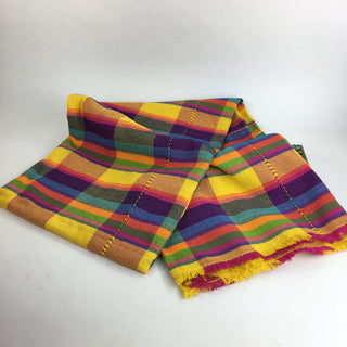 Handwoven Large Mexican Plaid Cotton Tablecloth, 6.5' x 6.5' - Zinnia Folk Arts