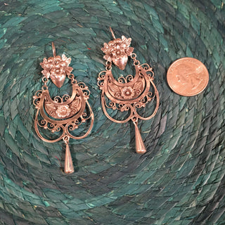 Large Mazahua Earrings, Corazon with Lovebirds and Light Filagree - Zinnia Folk Arts