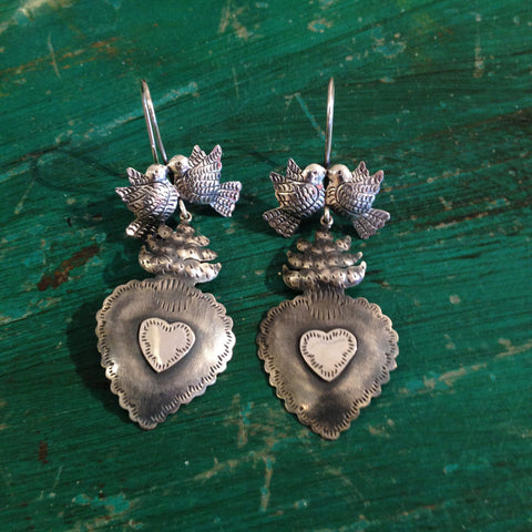 Silver Sacred Heart Earrings with Lovebirds, Oxidized Silver - Zinnia Folk Arts