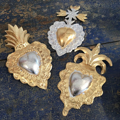 Gold Leaf Painted Tin Mexican Sacred Hearts, Large