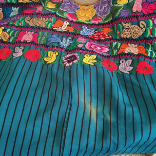 Vintage Multi-Color Guatemalan Huipil, Green/Teal Striped Background - Zinnia Folk Arts