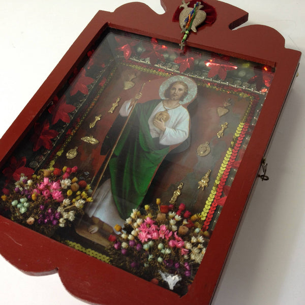 Mexican Folk Art Red Nicho Box with Glass Door