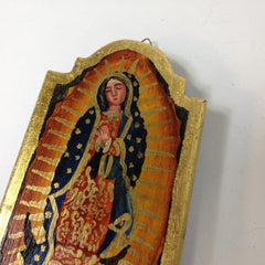 Wood Tablet with Guadalupe and Gold Leaf Edging, Two Sizes