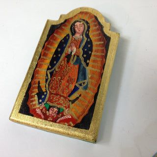 Wood Tablet with Guadalupe and Gold Leaf Edging, Two Sizes - Zinnia Folk Arts