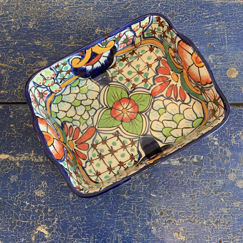 Deep Mexican Talavera Baking Dish, Chico - Zinnia Folk Arts