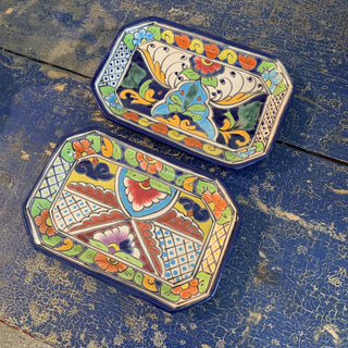 Octagonal Bright Talavera Trays - Zinnia Folk Arts
