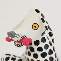 Mexican Wood Carving, Black and White Spotted Dog by Santiago Family