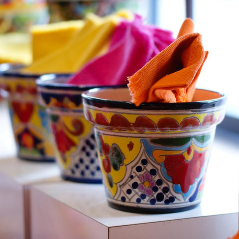 Multi Color Talavera Flower Pots, Small - Zinnia Folk Arts