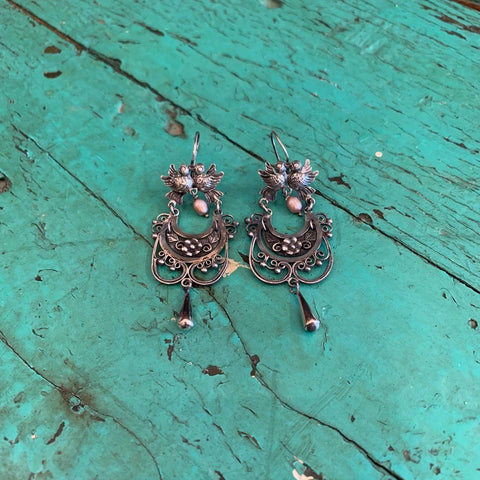 Mazahua Earrings, Corazon with Lovebirds and Seed Pearl - Zinnia Folk Arts
