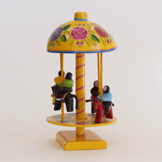 Lacquered Folk Art Toy Carousel - Zinnia Folk Arts