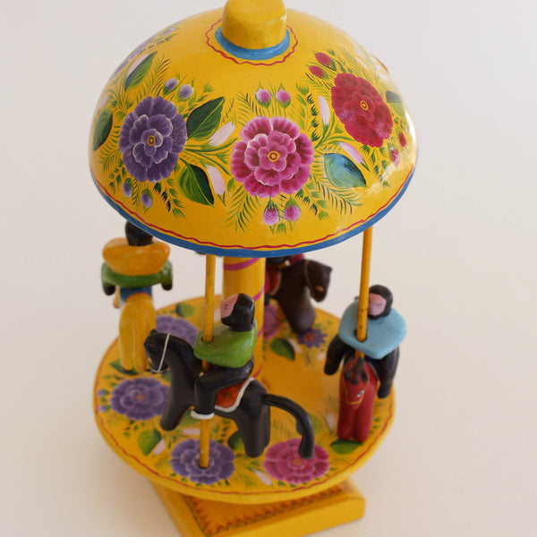 Lacquered Folk Art Toy Carousel