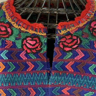 Vintage Embroidered Royal Blue Guatemalan Huipil, Closed Sides - Zinnia Folk Arts