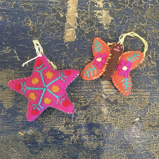 Set of 3 Small Soft Flannel Stars, Hearts, Crescent Moons - Zinnia Folk Arts