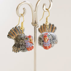 Tiny Carved and Painted Bird Earrings, Xuana