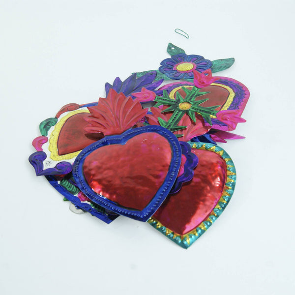Large Painted Tin Mexican Hearts