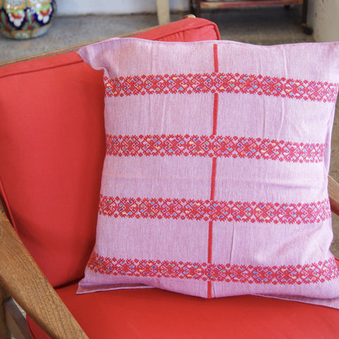Red Striped & Embroidered Square Pillow Cover - Zinnia Folk Arts