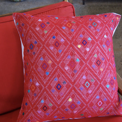 San Andres Red Embroidered Square Pillow Cover - Zinnia Folk Arts