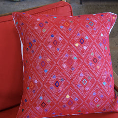 San Andres Red Embroidered Square Pillow Cover