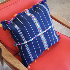 Indigo Blue Pillow Cases with Embroidery & Tassels, 18""
