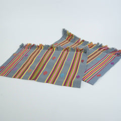 Gray with Stripes Chiapas Embroidered Placemats
