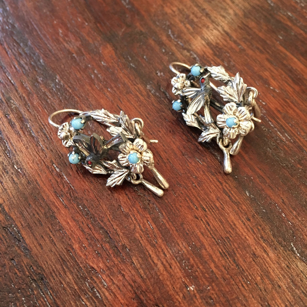 Guanajuato Silver Baroque Earrings with 3 Dangles - Zinnia Folk Arts