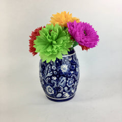 Mexican Blue and White Barrel Shaped Traditional  Flower Vase