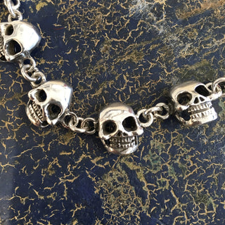 Mexican Sterling Silver Day of the Dead Skull Bracelet - Zinnia Folk Arts