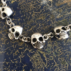 Mexican Sterling Silver Day of the Dead Skull Bracelet