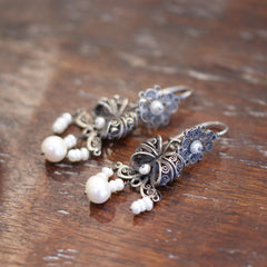 Traditional Tied Silver Filagree Bow Earrings with Pearls, Oaxaca