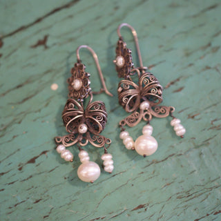 Traditional Tied Silver Filagree Bow Earrings with Pearls, Oaxaca - Zinnia Folk Arts
