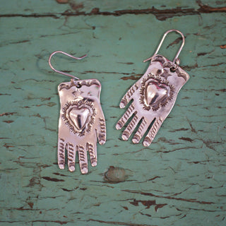 Sterling Silver Hand Earrings - Zinnia Folk Arts
