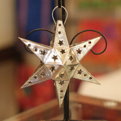 6 Point Mexican Tin Star Christmas Ornament, Unpainted