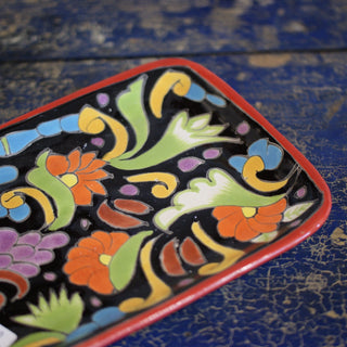 Small Bright Talavera Trays On Black - Zinnia Folk Arts