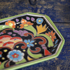 Octagonal Bright Talavera Trays On Black