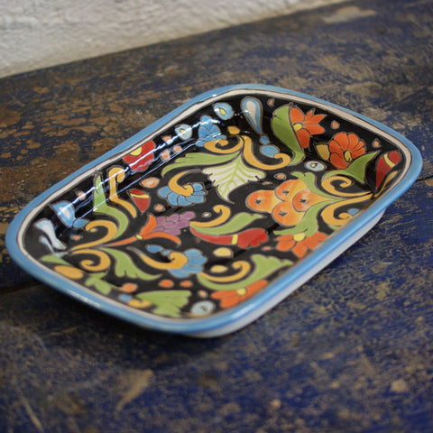Shallow Rectangular Talavera Baking Pan - Zinnia Folk Arts