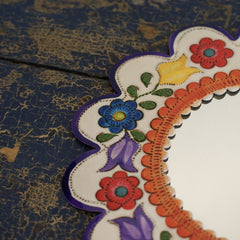 Colorful Painted Small Mexican Tin Mirror, 4 Shapes