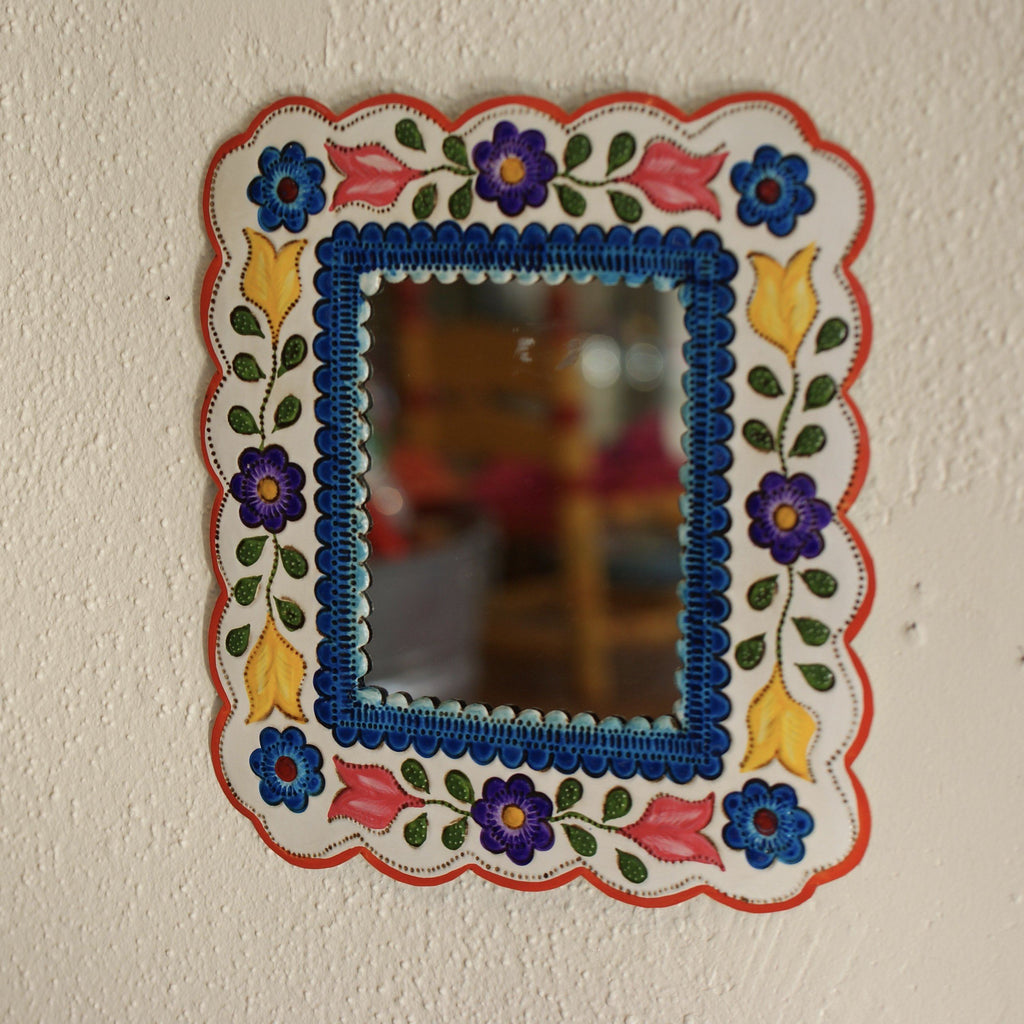 Colorful Painted Small Mexican Tin Mirror, Various Shapes - Zinnia Folk Arts