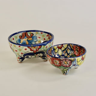 Three-Footed Bowls, Dolores Hidalgo Molcajete Bowls, 2 Sizes - Zinnia Folk Arts